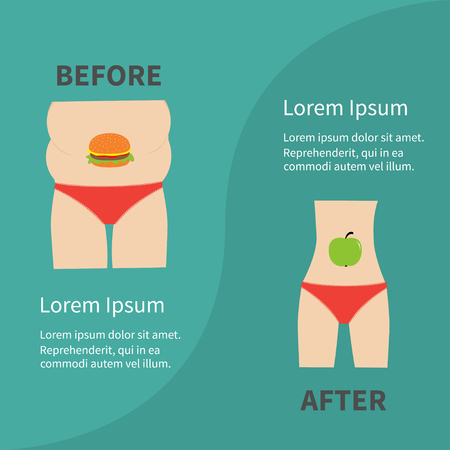 before and after: Before after infographic Woman fat and skinny figure red underwear. Healthy unhealthy food apple hamburger Flat design Vector illustration Illustration