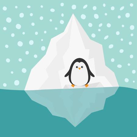 berg: Penguin on Iceberg Blue water Snow in the sky Flat design Winter background Vector illustration Illustration