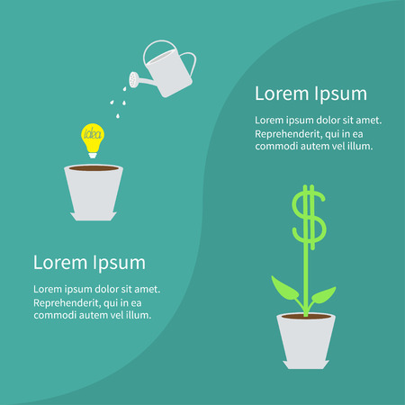leaf line: Financial growth concept. Business infographic template. Flower pot, light bulb idea, watering can, dollar tree plant. Flat design. Green background. Vector illustration. Illustration