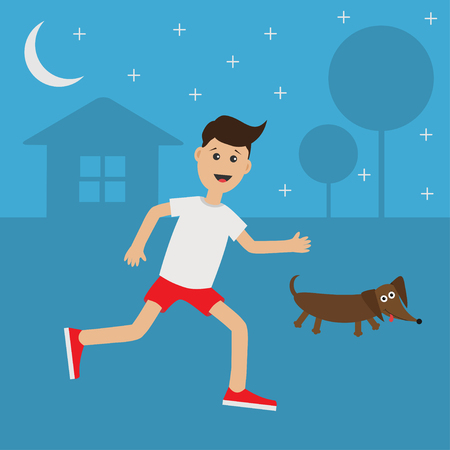 cardio workout: Funny cartoon running guy Dachshund dog.  Night summer time. House, tree silhouette Stars shining Run boy Jogging man Runner outside Fitness cardio workout Running male character Flat Vector