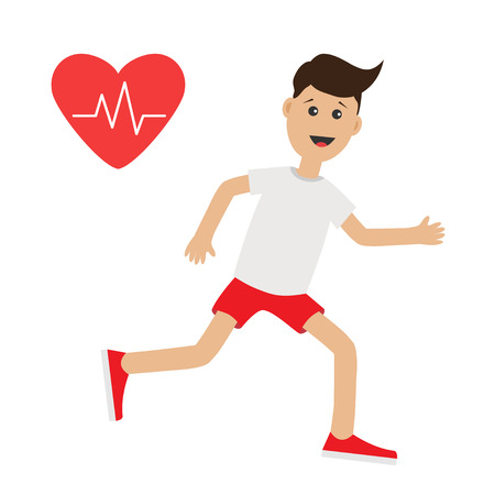 cardio workout: Funny cartoon running guy. Heart beat icon Cute run boy Jogging man Runner  Fitness cardio workout Running male character  Isolated White background. Flat design Vector illustration