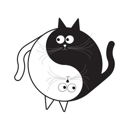 Yin Yang segno icona. Bianco e nero simpatico gatto cartoon divertente. Feng shui simbolo. Isolato stile di design piatto. illustrazione di vettore