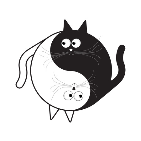 opposites: Yin Yang sign icon. White and black cute funny cartoon cat. Feng shui symbol. Isolated Flat design style. Vector illustration