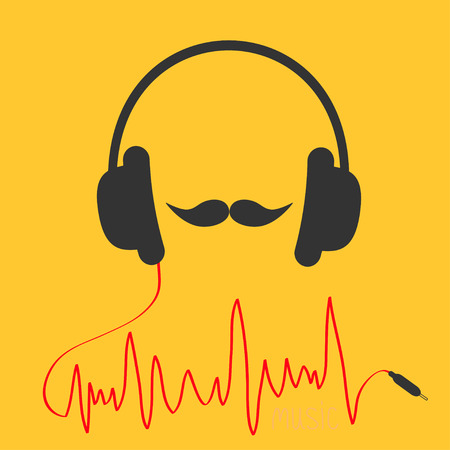 moustaches: Headphones with red cord. Moustaches Music card. Flat design icon Yellow background Vector illustration