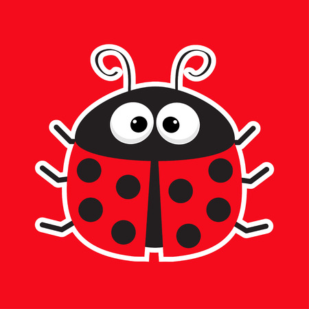 lady bug: Cute cartoon lady bug sticker icon. Red background. Baby illustration. Flat design. Vector illustration