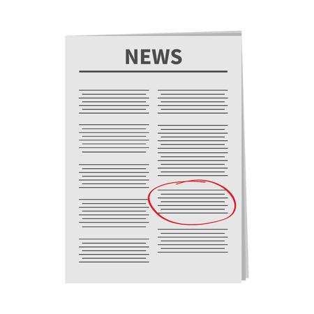 mark pen: Newspaper icon Red pen skrible mark Flat design Isolated White background Vector illustration Illustration
