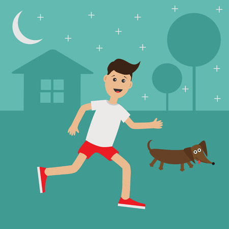 cardio workout: Cartoon running guy Dachshund dog.  Night summer time. House, tree silhouette Stars shining Run boy Jogging man Runner outside Fitness cardio workout Running male character Flat Vector