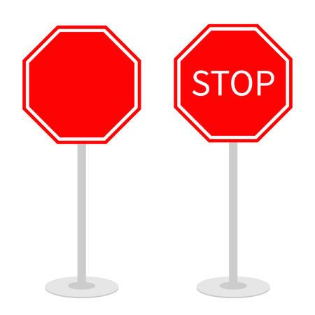 strikethrough: Stop traffic warning road sign set with stand. Prohibition no symbol. Template Isolated on white background. Flat design Vector illustration Illustration