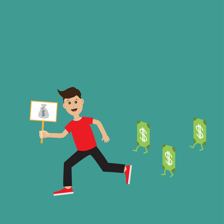 hand holding money bag: Running guy Boy character Businessman hand holding paper blank with money bag on the stick Money bill  banknote with dollar sign.  Flat design  Green background. Flat design Vector illustration Illustration