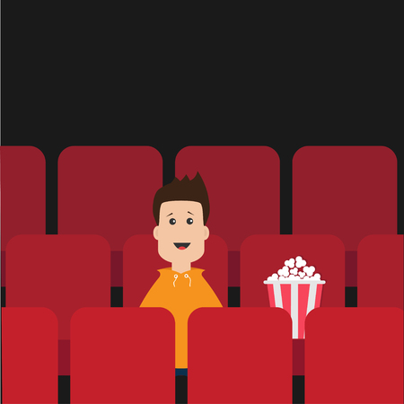 Cartoon boy sitting in movie theater. Film show Cinema background. Viewer watching movie. Popcorn box on red seat. Flat design Vector illustration