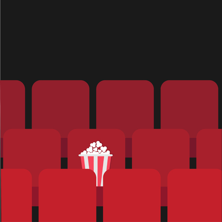 Popcorn box on red seat. Movie theater hall. Film show Cinema background. Flat design Vector illustration Illusztráció