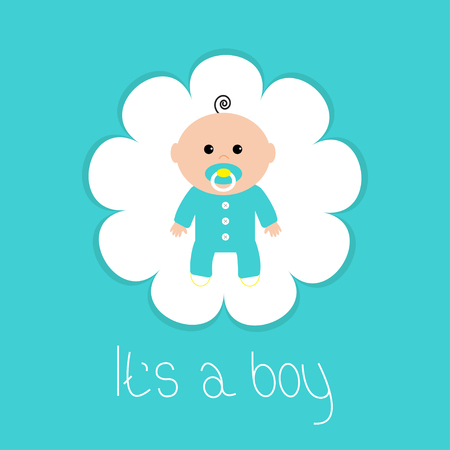 baby boy announcement: Baby shower card. Its a boy. Flower frame. Flat design style. Vector illustration
