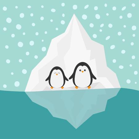 berg: Penguin family Iceberg Blue water Snow in the sky Flat design Winter background Vector illustration