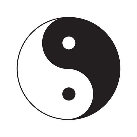 yang style: Yin Yang sign icon. White and black. Feng shui symbol. Isolated Flat design style. Vector illustration