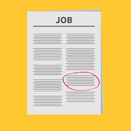 mark pen: Job Newspaper icon Red pen skrible mark Flat design Isolated Yellow background Vector illustration