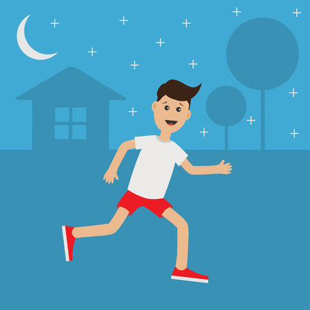 cardio workout: Funny cartoon running guy Night summer time. House, tree silhouette. Stars shining Cute run boy Jogging man Runner outside Fitness cardio workout Running male character Flat design Vector illustration Illustration