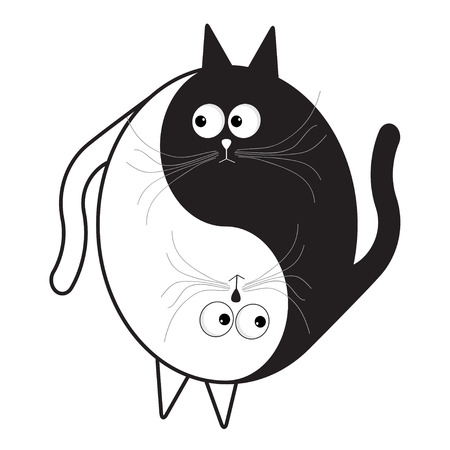 yang style: White and black cute funny cartoon cat. Yin Yang sign icon.  Feng shui symbol. Isolated Flat design style Vector illustration