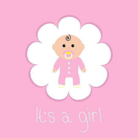 Tarjeta de la ducha del bebé. Es una niña. Marco de la flor. estilo de diseño plano. ilustración vectorial