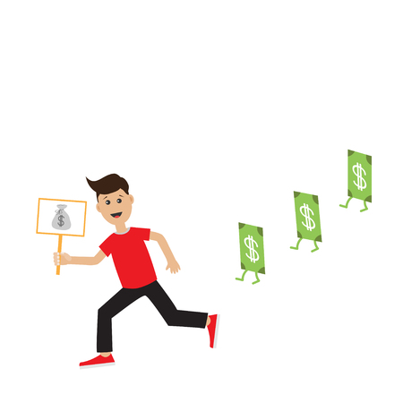 hand holding money bag: Funny cartoon running guy Boy character Businessman hand holding paper blank with money bag on the stick Money bill  banknote with dollar sign.  Flat design  Isolated White background. Flat Vector