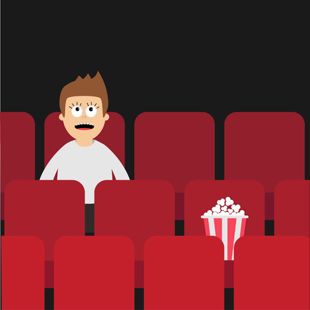 pareja comiendo: Hombre de la historieta muchacho personaje sentado en un cine. Cine muestran Fondo del cine. Espectador ve la película. caja de palomitas de maíz en el asiento rojo. Diseño plano ilustración vectorial