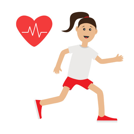 cardio workout: Funny cartoon running girl Heart beat icon Cute run woman Jogging lady Runner Fitness cardio workout running female character  Isolated White background. Flat design Vector illustration