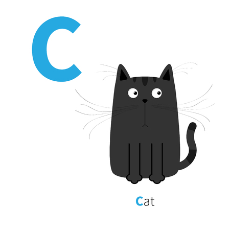 cat alphabet: Letter C Cat black English abc with animals. Zoo alphabet. Education cards for kids Isolated White background Flat design  Vector illustration