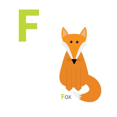 Letter F Fox Zoo alphabet. English abc with animals Education cards for kids Isolated White background Flat design Vector illustration Illusztráció