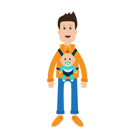 cute guy: Funny cartoon guy Cute male character holding boy son in baby carrier sling. Father parent take care of child. Casual dress style Surprise emotion. White background. Flat design Vector illustration