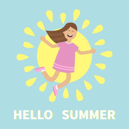 gleeful: Hello summer greeting card. Girl jumping. Sun shining icon. Summer time. Happy child jump. Cute cartoon laughing character in violet dress. Smiling woman. Blue background Flat Vector illustration