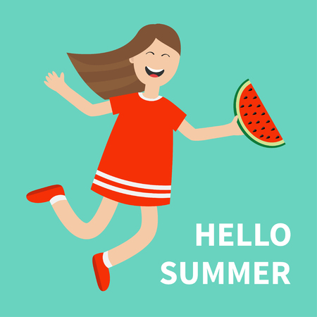 watermelon woman: Cute cartoon laughing character in red dress holding watermelon slice. Smiling woman. Blue background. Hello summer greeting card. Girl jumping Happy child jump. Flat design Vector illustration Illustration
