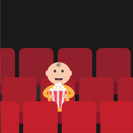 movie and popcorn: Cartoon man little boy character  sitting in movie theater. Film show Cinema background. Viewer watching movie. Popcorn box. Flat design Vector illustration