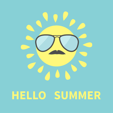 sunglassess: Sun shining icon. Sun face with sunglassess and mustaches. Cute cartoon funny smiling character moustaches. Hello summer. Blue background. Isolated. Flat design Vector illustration