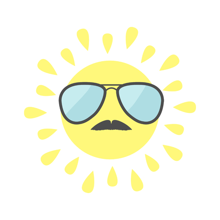 sunglassess: Sun shining icon. Sun face with sunglassess and mustaches. Cute cartoon funny smiling character moustaches.  White background. Isolated. Flat design illustration