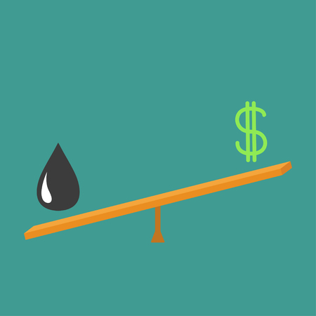 scale up: Balance between  oil  and dollar. Dollar sign and oil drop on scale board. Seesaw icon. Business infographic. Green background. Isolated. Up down money value concept. Flat design illustration
