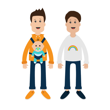 father in law: family. Two fathers with baby boy son in baby carrier sling. Male couple. Rainbow on shirt.  Love is love. Greeting card.