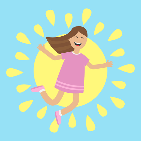 glee: Girl jumping isolated. Sun shining icon. Summer time. Happy child jump. Cute cartoon laughing character in violet dress. Smiling woman. Blue background. Flat design illustration