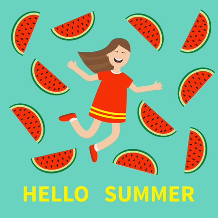 watermelon woman: Hello summer greeting card. Girl jumping Happy child jump. Cute cartoon laughing character in red dress Watermelon slice background. Smiling woman.  Flat design illustration