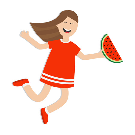 watermelon woman: Girl jumping isolated. Happy child jump. Cute cartoon laughing character in red dress holding watermelon slice. Smiling woman. White background. Flat design illustration Illustration