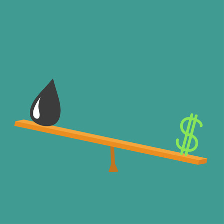 drop down: Dollar sign and oil drop on scale board. Balance between dollar and oil value. Seesaw icon. Business infographic. Green background. Isolated Up down money value concept Flat design Vector illustration