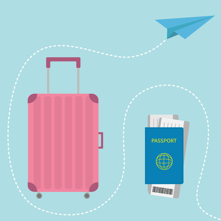consept: Passport, air boarding pass ticket with barcode. Suitcase icon. Travel baggage.  Luggage handbag. Summer vacation planning consept. Travelling tourism. Passenger case. Flat Isolated. White Vector