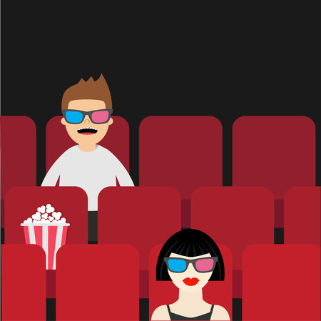 watching movie: People sitting in movie theater. Film show Cinema background. Viewers watching movie in 3D glasses. Man and woman cartoon character. Popcorn box on red seat. Flat design Vector illustration Illustration