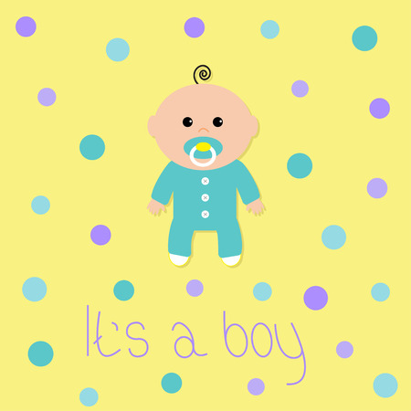 chap: Baby boy shower card. Its a boy. Yellow background with colorful circle dot. Flat design style. Vector illustration