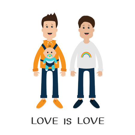 father in law: Two fathers with baby boy son in baby carrier sling. Male couple. Rainbow on shirt.  Love is love text quote. Greeting card.  LGBT community Cute characters Flat design Vector illustration