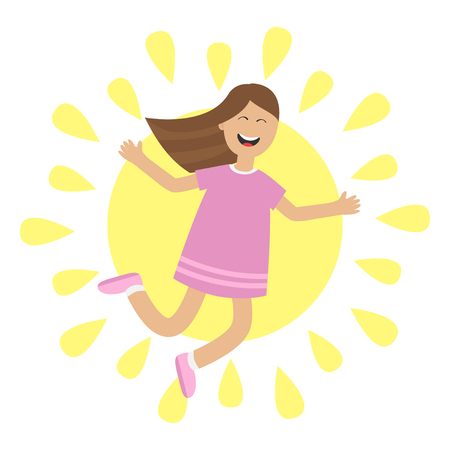 glee: Girl jumping isolated. Sun shining icon. Summer time. Happy child jump. Cute cartoon laughing character in violet dress. Smiling woman. White background. Flat design Vector illustration Illustration