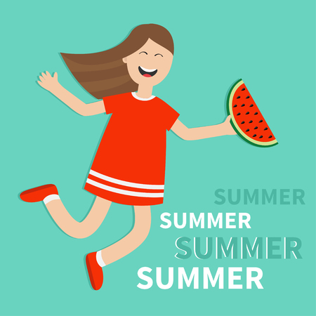 watermelon woman: Hello summer greeting card. Girl jumping Happy child jump. Cute cartoon laughing character in red dress holding watermelon slice. Smiling woman. Blue background. Flat design Vector illustration Illustration