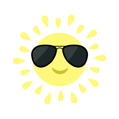 sunglassess: Sun shining icon. Sun face with black pilot sunglassess. Cute cartoon funny smiling character.  White background. Isolated. Flat design Vector illustration Illustration