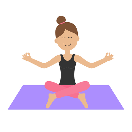 healthy woman white background: Young girl do yoga. Cute cartoon woman character sitting in lotus pose. Healthy lifestyle. Fitness clothes. Yoga pad. Relax exercises. Meditating. Isolated. White background. Flat design. Vector
