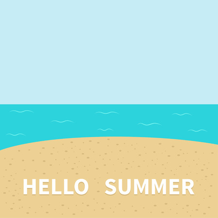 animal time: Hello summer Beach, sea ocean, sky, sand. Cute cartoon baby character. Sea ocean animal collection. Greeting card. Summer time background. Flat design. Vector illustration