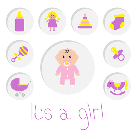 white bacground: Its a girl. Baby girl shower card. Bottle, horse, rattle, pacifier, sock, doll, baby carriage pyramid toy. Round icon set. Isolated. White bacground Flat design Vector illustration Illustration