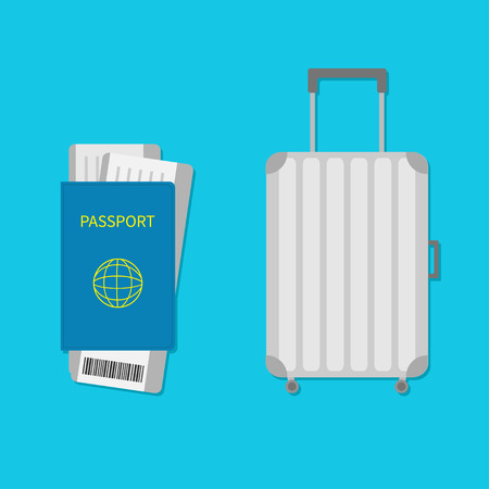 consept: Suitcase icon. Travel baggage.  Luggage handbag. Summer vacation planning consept. Travelling tourism. Passport, air boarding pass ticket barcode.Passenger case. Flat Isolated. Blue background Vector